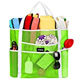 Mesh Beach Bag Toy Tote Bag Grocery Storage Net Bag Oversized Big XL with Pockets Foldable Lightweight for Family Pool (Green)