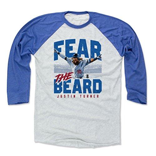 500 LEVEL Justin Turner Baseball Tee Shirt X-Large Royal/Ash - Los Angeles Baseball Raglan Shirt - Justin Turner Fear The Beard B
