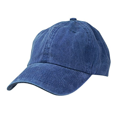 Mens Pigment Dyed Washed Cotton Cap - Adjustable Hat 6 Panel Unstructured (Heavy Washed Navy Blue) (Hats For Cheap)