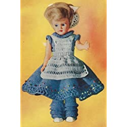 Vintage Crochet PATTERN to make - 7-10 inch Doll Clothes Dress Apron Pantaloons. NOT a finished item. This is a pattern and/or instructions to make the item only.