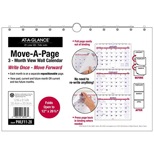 "AT-A-GLANCE Wall Calendar 2017, Three Month View, 12 x 8-1/4"", Opens to 12 x 26-1/2"", Look Forward (PMLF11-28)"