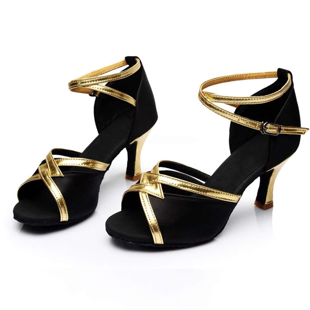 NOIR Chaussures de danse à Talons Hauts Fond Souple de Latine pour Femmes de Salon pour Adultes Angleterre Dance Square US5.5 EU36 UK3.5 CN35