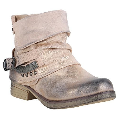 728cdf013b47cc Stiefelparadies Gefütterte Damen Biker Boots Stiefeletten Winterschuhe  Metallic Prints Nieten Schnallen Übergößen Schuhe Flandell Rosa Nieten