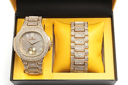 Ice Glass Bracelets - Bling-ed Out Oblong Case Metal Mens Watch w/Matching Bling-ed Out Bracelet Gift Set - 8475B - Gold/Gold