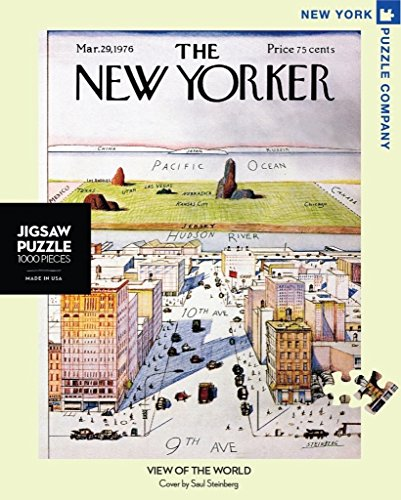 New York Puzzle Company - New Yorker View of the World - 1000 Piece Jigsaw Puzzle (New York Puzzles)