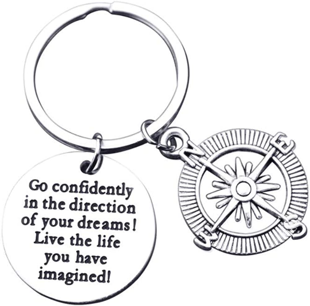Inspirational Compass Keychain Go Confidently in The Direction of Your Dreams Live The Life You Have Imagined Keyring