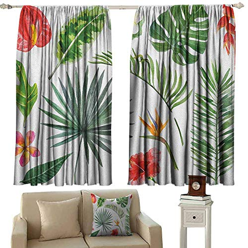 zojihouse Plant Sliding Door Curtain Diverse Collection of Leaves and Flowers from Tropical Lands Heliconia Philodendron W63xL71 Multicolor