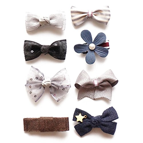Belle Beau Baby Girls Hair Bows, Hair Clips, Ribbon Lined Alligator Hair Clips (A)