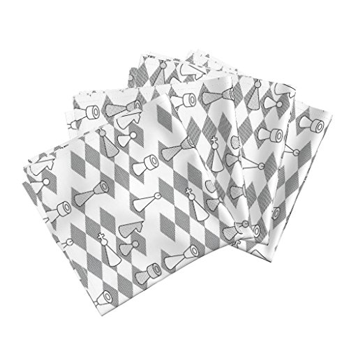 Bishops Cotton Sateen - Roostery Toile Organic Sateen Dinner Napkins Murder On The Chess-Board by Sef Set of 4 Cotton Dinner Napkins Made
