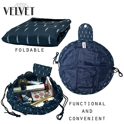 Toiletry Travel Bag | Lazy Drawstring Makeup Organizer with Magnetic Snap | Waterproof Cosmetic Pouch for Women, Men, Girls (Large 18 inches, Blue Feathers) by VelvetBags (Image #2)