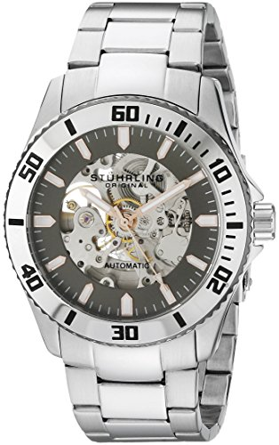 Stuhrling Original Men's 773.03 Aquadiver Antilles Stainless Steel and Gray Skeleton Dial Watch