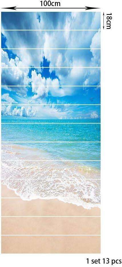 ZBFDLTTDM PVC Creativo Simple Trece Azul mar y Azul Cielo Escalera Pegatinas Paso Pegatinas de Pared LT-013: Amazon.es: Hogar