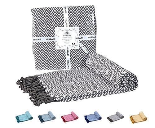 HILLFAIR 100% Soft Cotton Throw Blanket  Chevron Grey Throw Blanket-Couch Sofa Throw Blanket, Sofa Quilt, Super Soft Cotton Throw Blanket, Indoor/Outdoor 50x60 Hand-Knotted Fringe Cotton Throws