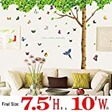 Dagou® Extra Huge Size 7.4'(h) X 9.7'(w) with 40 Butterflies DIY Fresh Green Leaves & Large Tree Birds Wall Decals Enjoy Easy to Apply Relaxed Removable Wall Stickers for Home, Kids, Living Room
