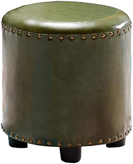 HQCC DLDL Household Leather Stool Stool Round Leather pier for Shoe Bench Color ArmyGreen