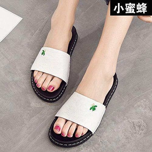 ZPPZZP Mme sandales chaussons porter sauvage télévision à fente 38EU style white