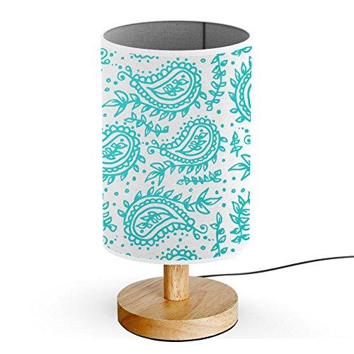 (ArtLights - Wood Base Decoration Desk / Table / Bedside Lamp [ Teal Indian Flowers)