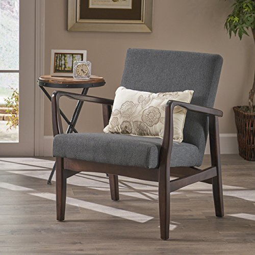 Christopher Knight Home 304657 Isaac Mid Century Modern Fabric Arm Chair in Dark Grey, Espresso