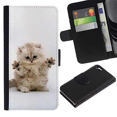 LASTONE PHONE CASE / Luxe Cuir Portefeuille Housse Fente pour Carte Coque Flip Étui de Protection pour Apple Iphone 5 / 5S / Cute Cat Kitten Invisible Enemy