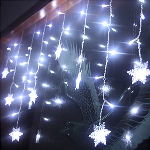 Lainin 12ft/3.5M 96LED Snowflake Curtain Light Plug in String Light LED Fairy Night Light, Perfect for Christmas Wedding Party Decoration Chandelier Luminarias - White