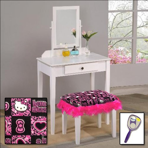 New White Wooden Make Up Vanity Table with Mirror & Hello Kitty Themed Bench With Hot Pink Feather Style Skirt Around - Princess Hello Mirror Kitty