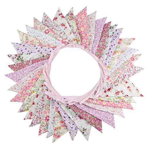 INFEI 10M/32Ft 36 Floral Fabric Triangle Flags Bunting Banner Garlands for Wedding, Birthday Party, Outdoor & Home Decoration ()