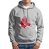 UNAZ Mens Red Sox Primary Hanging Socks Ash Pullover With No Pocket