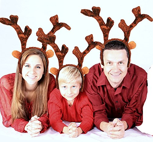 3 Pack Special Reduced Price!!! Deluxe Plush Christmas Reindeer Antlers (Feels Real To The Touch) by Bottles N Bags (Rudolph Antlers)