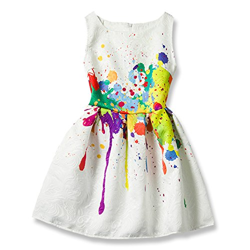 Summer Girls Dresses Creative Art Colorful Print Sleeveless Casual Dress for Girls Size 5-12 -