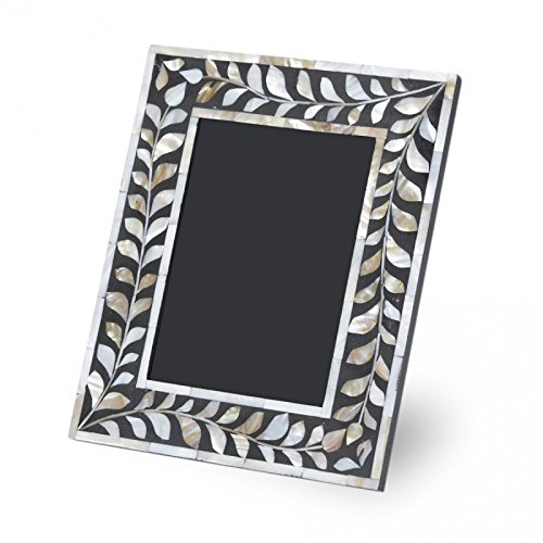 Antique Rustic Black Mother of Pearl Photo Frame Handmade Inlay Furniture