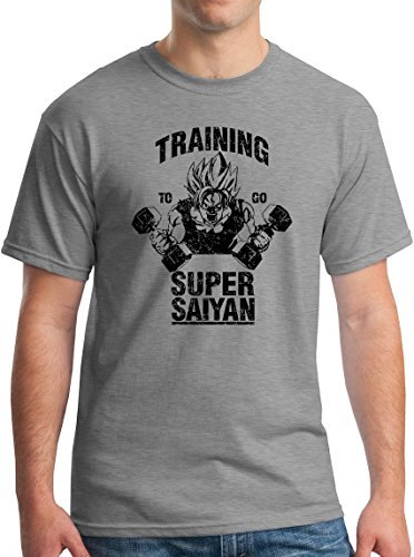 Training To Go Super Saiyan Tee Naruto Z Chi-Chi Ball Dragon Ball Z Fighter Distressed Sport Grey L