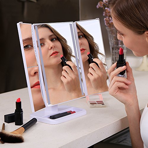 LED Lighted Makeup Mirror, Tri-fold Travel Mirror 1x/2x/3x Magnification 24-LED Vanity Mirror with Touch Dimmer, Brighter and 180-Degree Rotation, USB Cable or Battery Powered