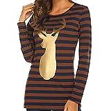 FANOUD Loose Striped Top Christmas Deer Print Long Sleeve Blouse