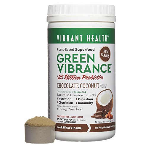 Vibrant Health - Green Vibrance, Plant-Based Daily Superfood + Protein and Antioxidants, Chocolate Coconut, 25 Servings by Vibrant Health