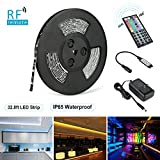LED Strip Lights, Nexlux 32.8ft 5050 SMD RGB LED Strip Light Black PCB Board Color Changing Decoration Lighting 44 key RF Remote Controller+ UL approved Power Adapter