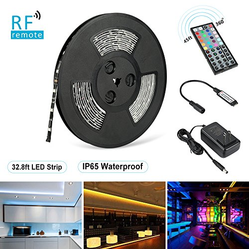 Nexlux LED Strip Lights, 32.8ft Waterproof IP65 5050 SMD RGB LED Flexible Strip Light Black PCB Board Color Changing Decoration Lighting 44 Key RF Remote Controller+ UL Approved Power ()