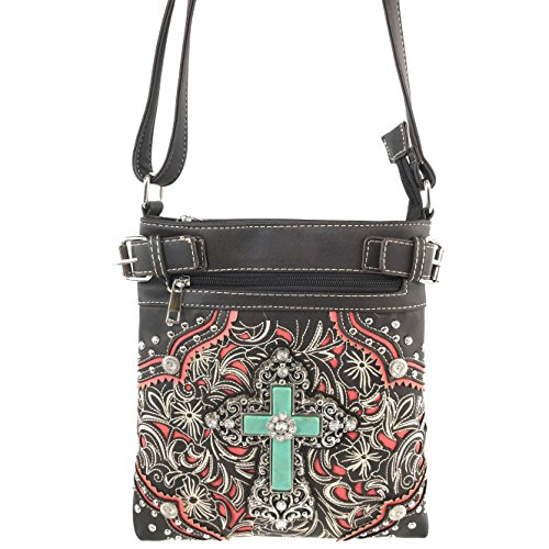 Only Bag Embroidery Messenger Purse Floral Western Wallet Body Strap Trifold Justin Shoulder Cross Cross Handbag Messenger Stone Long with Turquoise Rhinestone West Brown WPvqSw4B