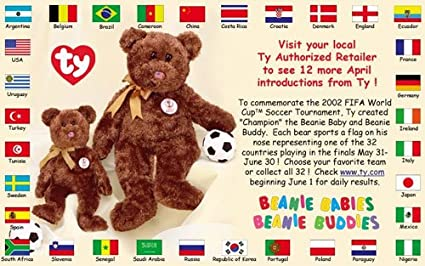 32c989c4ac7 Image Unavailable. Image not available for. Color  TY Beanie Babies -  CHAMPION the FIFA Bears (Complete set - All 32 Different Countries