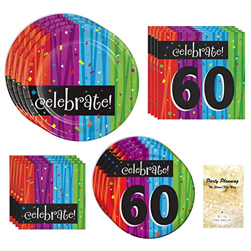 60th Birthday Party Supplies, Milestone Celebrations Design, Bundle of 4 Items: Dinner Plates, Dessert Plates, Lunch Napkins and Beverage Napkins -