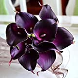 BuW Modern Decorative Flower 12 Colors 9 Pieces/Lot Artificial Mini Calla Lily Bundle for Home and Party Decoration Purple