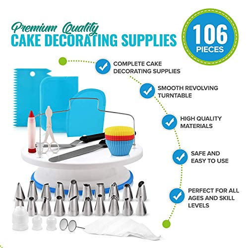 JHKJ Cake Decorating Supplies 106-in-1 Baking Accessories with Cake Turntable Stands, Cake Tips etc Frosting Tools Set,Blue by JHKJ (Image #2)