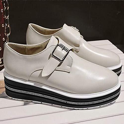 poliuretano ZHZNVX Creepers Comfort Toe Bianco donna Scarpe Sneakers Primavera Closed da White Nero PU Estate 1qxqFMrIfw