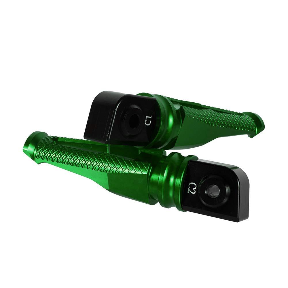 Poggiapiedi per moto Pedane passeggero Accessori per moto in alluminio CNC Verde per Kawasaki Z900 2017-2018 per Z1000 2003-2018,Per Z800 2013-2016 per ZX6R 2005-2018
