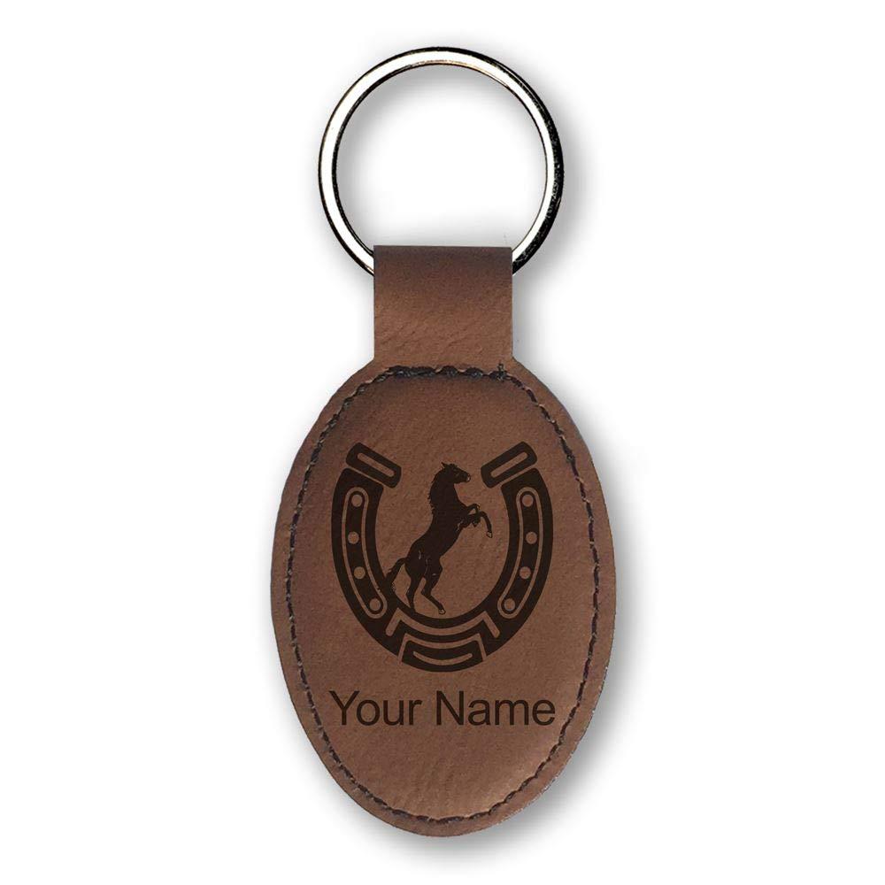 Llavero - herradura con caballo - personalizado grabado ...