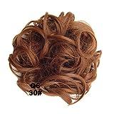 PrettyWit Hairpieces Short Curly Hair Extension Messy Hair Bun Updo Donut Hair Chignons Hair Piece Wig Scrunchy Bridal-Light Auburn 30#