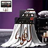 smallbeefly 70s Party Digital Printing Blanket Broken Analogue Audio Cassette Music Playing Record Vintage Technology Summer Quilt Comforter Orange Caramel White