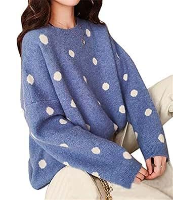 FSSE Women Loose Polka Dot Print Winter Jumper Knit