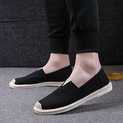 Fheaven Könsneutrala Par Kvinna Man Espadriller Komfort Canvas Cap Toe Slip-on Loafer Plattform Mattsvart