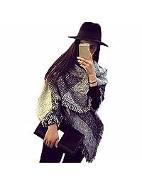Tenworld Charming Women Large Tartan Shawl Stole Plaid Woollen Cloth Tassels Scarf