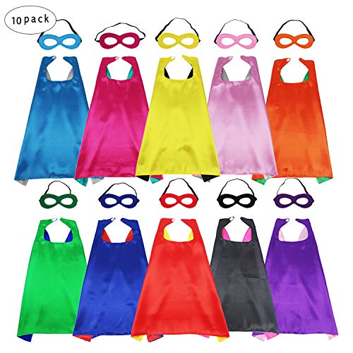 D.Q.Z Kids Superhero Capes and Masks - Super Hero Dress Up Party Favor-10 Pack -